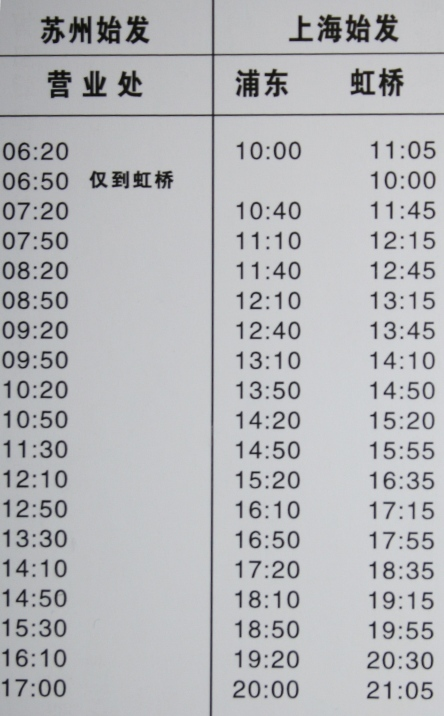 苏州到上海虹桥浦东坐飞机机场大巴时刻表(2011.1.31更新)